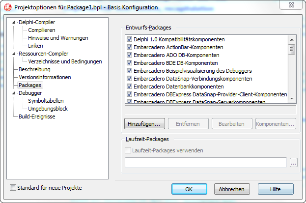 Delphi 2005 Packageoptionen